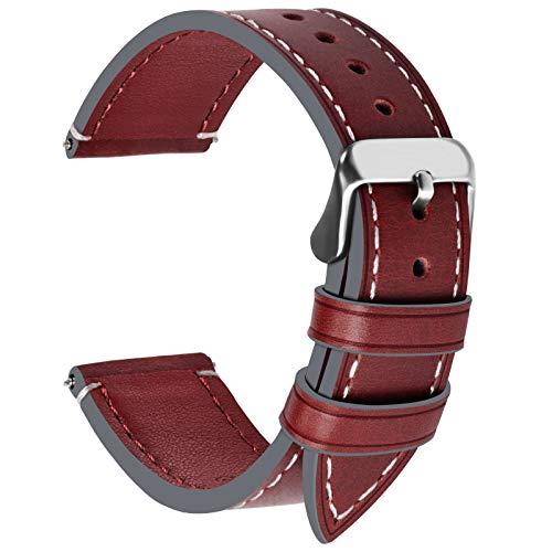 Fullmosa Ersatz Armbänder für Uhr in 6 Farben, Wax Series Echtes Leder Uhrenarmband 22mm/Watch Band für Damen&Herren,Weinrot + Silber Schnalle -