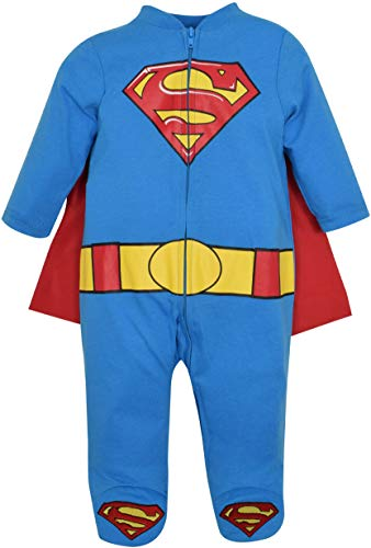 Kind Superhelden Blau Kostüm Cape - Warner Bros. DC Comics Superman Neugeborenen Baby Jungen Onesie Jumpsuit Strampler Kostüm mit Footies & Cape, Blau 0-3 Monate