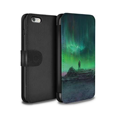 Offiziell Chris Cold PU-Leder Hülle/Case/Tasche/Cover für Apple iPhone 6 / Pack 12pcs Muster / Fremden Welt Kosmos Kollektion Polarlicht