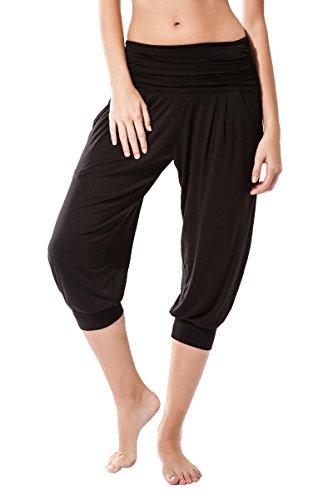 Pantalon Fitness para mujer, Rabi de Sternitz, ideal para hacer pilates, yoga y cualquier deporte, tela de bambú, ecológica y suave. Pantalón tipo pescador o bombacho. Muy Cómodo (S, Negro)