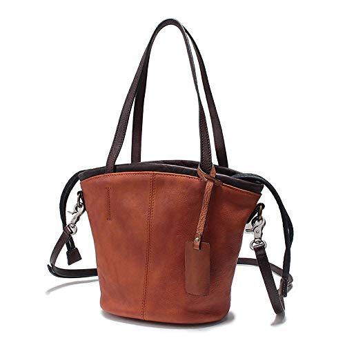 Damen Leder Tasche-Rindsleder Schulter/Umhängetasche Große Kapazität Braun Eimer Tasche -