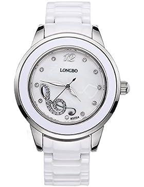 Longbo Damen Luxus Keramik Band Business Armreif Uhr Silber Fall Musik Note Armband Handgelenk Kleid Uhren Fashion...