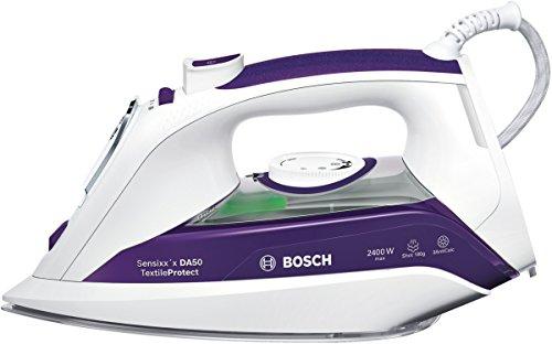 Bosch Sensixx'x TextileProtect TDA502401T Dampfbügeleisen (2400 Watt max, Textilschutzsohle, Dampfstoß 180g/min) weiß/dunkelviolett