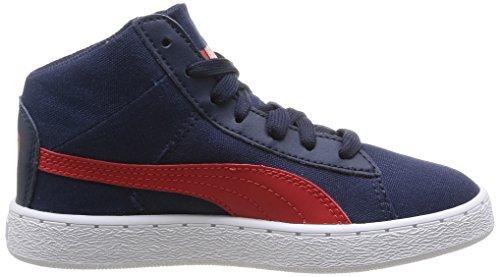 Puma 358202/02, Baskets mode garçon Bleu (Peacoat/High Risk Red)