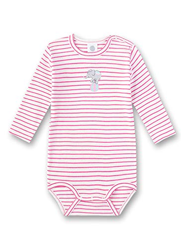Sanetta Baby-Mädchen Langarmbody Spieler, Rosa (Raspberry Rose 3972), 80 (Herstellergröße: 080) - Spieler Mädchen