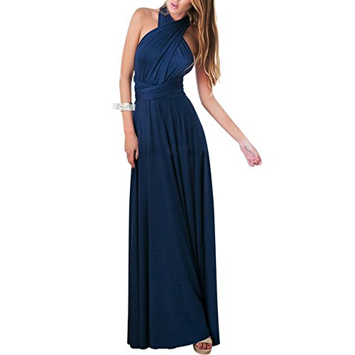 Lover-Beauty Kleider Damen V-Ausschnitt Rückenfrei Neckholder Abendkleider Elegant Cocktailkleid Multi-Way Maxikleid Lang Chiffon Party Kleid, Marineblau, (EU 34-36)S Lange Party-kleid