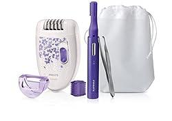Philips 3-in-1 Set HP6543/00 - Haarentfernungsset mit Epilierer, Präzisionstrimmer und Pinzette für eine glatte Haut - jeden Tag und zu jeder Zeit