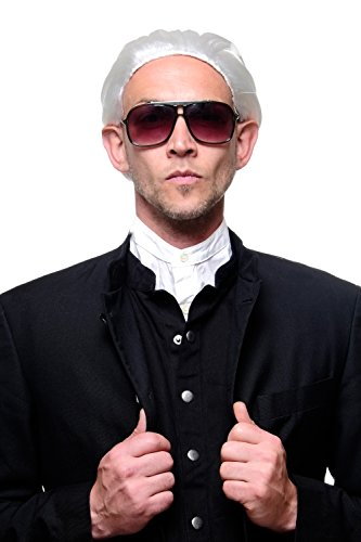 Fasching Karneval Halloween Perücke weiß mit Zopf: Modemacher Barock Edelmann Graf Fürst alter Vampir Dracula (Männer Perücke Weiße)