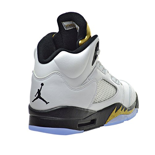 Nike Air Jordan 5 Retro, Chaussures de Sport Homme Blanco (white/black-mtlc gold coin)