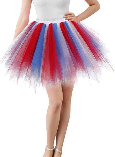 Wedtrend Damen Retro Petticoat Party Kurz Ballett Tanzkleid WTC10002-Red-Blue-S-M