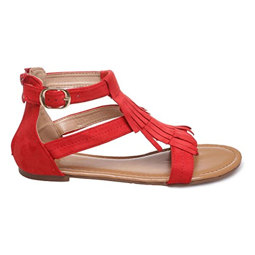La Modeuse - Sandales à brides en suédine à franges Rouge