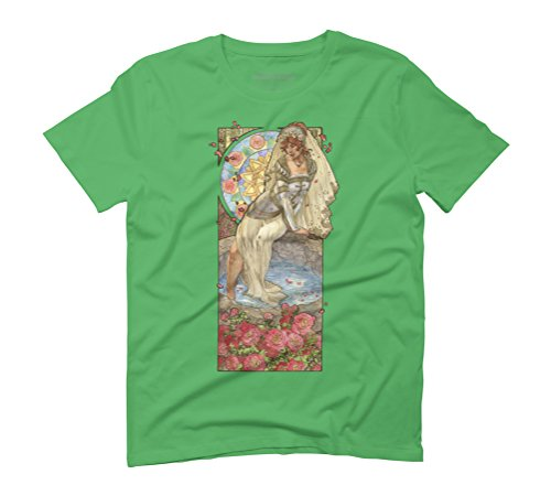 Lady of June Summer Solstice Bride with Sun Wheel and Roses Much Men's Graphic T-Shirt - Design By Humans Green