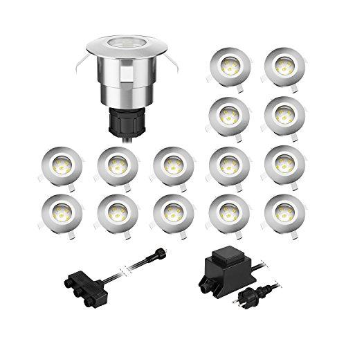 parlat LED Boden-Einbauleuchte Atria für außen Aluminium kalt-weiß, je 14lm, IP65, 40mm Ø 15er Set