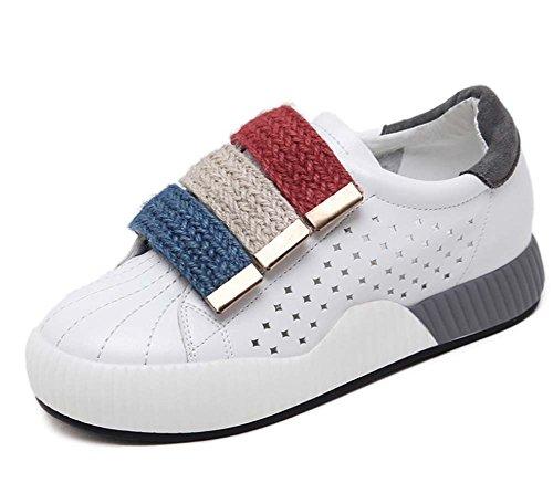 Scarpe Sportive Casual Respirabili Donna Scarpe Sportive 2017 Autunno Nuovo Spessore Bianco Single Scarpe Velcro Gray