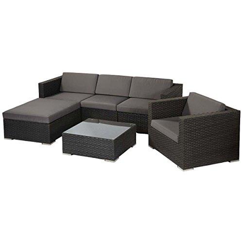 Gartenmöbel-Set aus Kunstrattan, mit Auflagen, 6-teilig, Braun