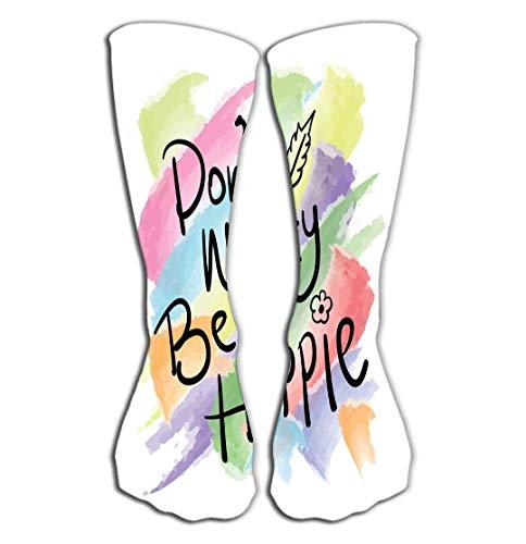 hgdfhfgd Outdoor Sports Men Women High Socks Stocking Happy Hippie Positive Slogan Design Tile Length 19.7