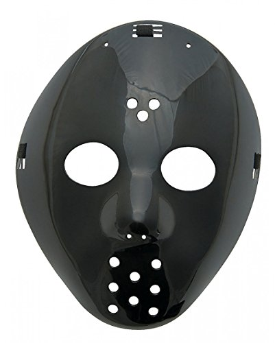 Schwarze Eishockey Maske als Horror Kostümzubehör für Halloween