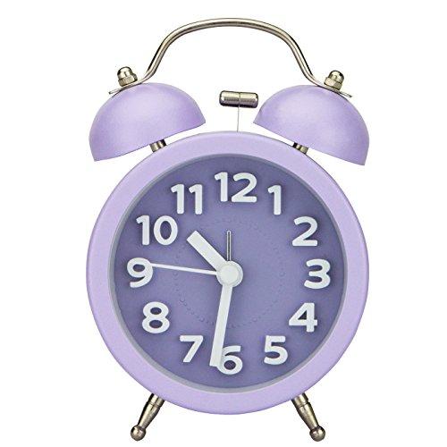 PiLife Mini Doppelglockenwecker , Klassik Wecker Clock mit Nacht Licht, lauter Alarm, kein Ticken, geräuschlos, Wecker große zahlen, batteriebetrieben, 3 Zoll (3D grün)