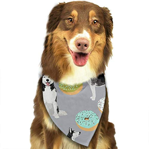 deyhfef Dog Bandana Grey Blue Donut Dog Printed Pet Triangle Scarf Festive Accessory for ()
