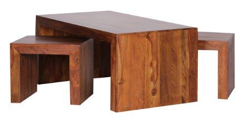 Leder-wohnzimmer-tisch (WOHNLING Couchtisch mit Hocker Massiv-Holz Sheesham 110cm breit Wohnzimmer-Tisch dunkel-braun Landhaus-Stil Satztisch Natur-Produkt Wohnzimmermöbel Unikat modern Massivholzmöbel Echtholz rechteckig)