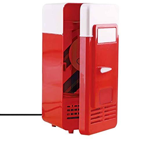 Mini-Kühlschrank, Chshe, Mini-Usb-Kühlschrank, Für Tragbare Getränke, Getränkedosenkühler, Integrierte Led-Anzeige, Einfach Zu Bedienen (Rot)
