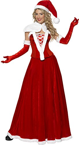 Fever, Damen Weihnachtsfrau Deluxe Kostüm, Mütze, Umhang, Korsett, Rock und Handschuhe, Größe: S, (Handschuhe Kostüme Deluxe)