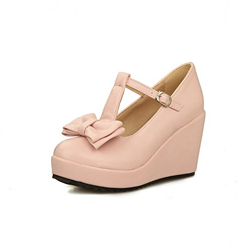 BalaMasa zeppa da donna, con fibbia, tessuto morbido pompe-Shoes Pink