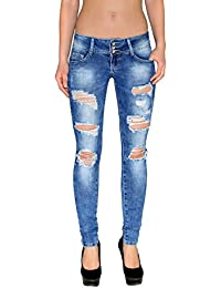 8bd5897c926f by-tex Damen Stretch Jeans Hose Damen Röhrenjeans Damen Hüftjeans Skinny  Damen Jeanshose mit Risse…