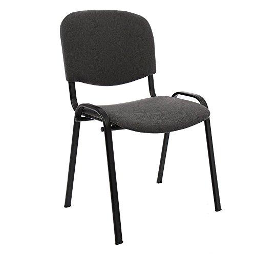 Sedia da ufficio poltrona fissa per sala attesa metallo e cotone/panno colore grigio confezione da 1pz