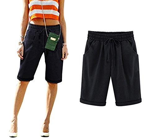 Minetom donna estate casual taglie forti 7/8 lunghezza elasticizzati pantaloni eleganti coulisse elastico cotone lino palazzo pants con tasche laterali b nero eu small