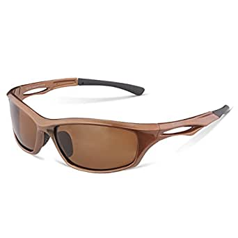 DUCO Polarized Sports Sunglasses for Running Cycling Fishing Golf TR90 Unbreakable Frame 6199 Brown Frame Brown Lens