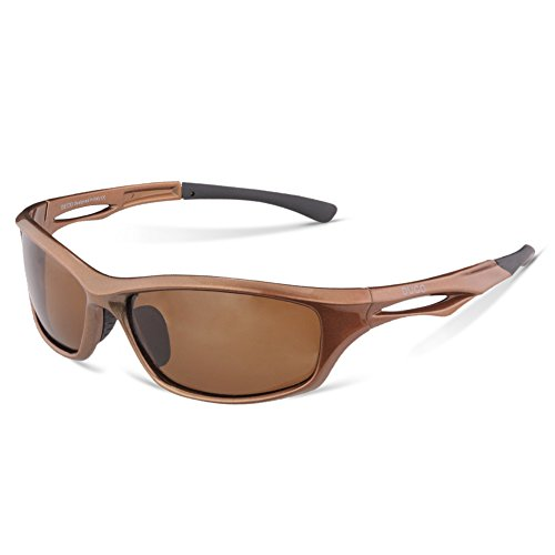DUCO Polarisierte Sport-Sonnenbrille zum Laufen Radfahren Angeln Golf TR90 Unbreakable Rahmen 6199 (Braun Rahmen Braun Linse)