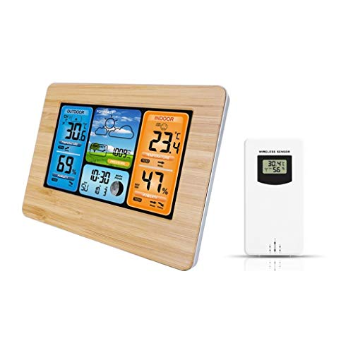 King Boutiques Weather Clock Digitale Wetterstation Thermometer Hygrometer Barometer Wireless Mit Sensor LCD-Anzeige Wettervorhersage Indoor Outdoor Clock Haushaltsgegenstände (Color : Wood Color)
