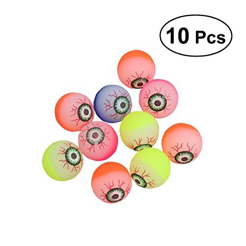 SUPVOX 10 stücke 32mm im Dunkeln leuchten Halloween Bouncy Balls Scary Eye Balls Halloween Party Supplies (Zufällige Farbe)