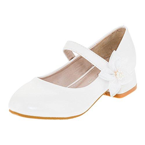 Festliche Mädchen Pumps Ballerinas Schuhe mit Absatz in vielen Farben M370ws Weiß 35 (Schuhe Kommunion Für Jungen Weiße)