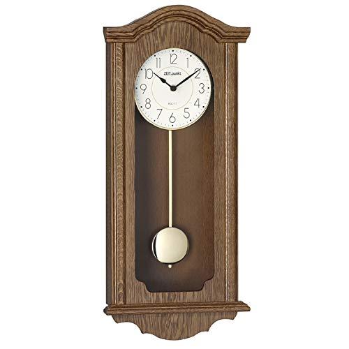 ZEIT.punkt Uhren Funk-Pendelwanduhr/Regulator - Exklusives Selva-Produkt - Made IN Germany - Klassisches Design - Massives Holzgehäuse aus Eiche - Bim-Bam- oder Westminstermelodie wählbar - C345436