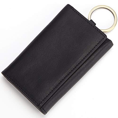 VVDF Leder Schlüsseltasche Wallet Tasche Klein Kompakt Dreifach Fall Tasche mit 6Haken Auto Key Fall für Männer Frauen, Leder, Schwarz, 10 * 6 * 2cm