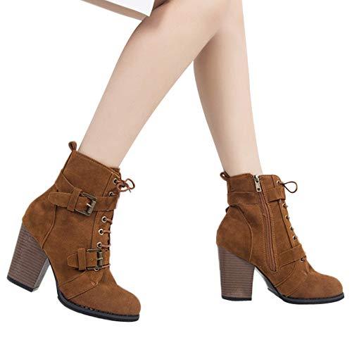 TianWlio Stiefel Frauen Herbst Winter Schuhe Stiefeletten Boots Volltonfarbe High Heel Schnür Wildleder Stiefel Zipper Stiefel Runde Zehe Schuhe Braun 43
