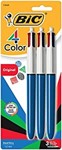 4-Color Ballpoint Retractable Pen, Assorted Ink, Medium, 3 per Pack