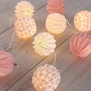 DecoKing 10er LED Papiergirlande auf silbernem Draht Papierkugeln warmes Weiß statisch batteriebetriebene LED Girlande Lichtgirlande Caroo