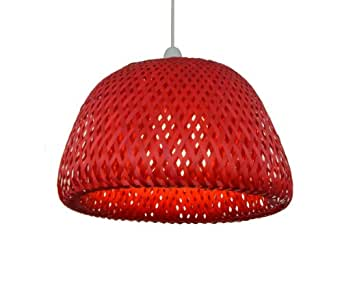 C12–30cm Rouge Double abat-jour Suspension dôme plafond en maille