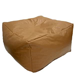 Faux Leather Mocha Brown Bean Bag Slab Footstool Pouffe