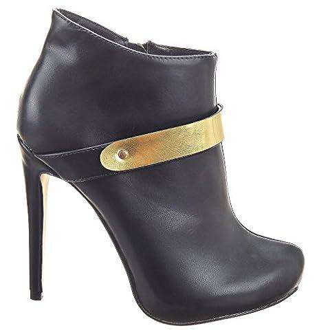 Sopily - damen Mode Schuhe Stiefeletten Low Boots Stiletto Low boots Schleife metallisch - Schwarz WL-628-83 T 39 - UK