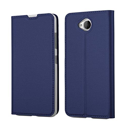 Cadorabo Hülle für Nokia Lumia 650 - Hülle in DUNKEL BLAU – Handyhülle mit Standfunktion und Kartenfach im Metallic Look - Case Cover Schutzhülle Etui Tasche Book Klapp Style