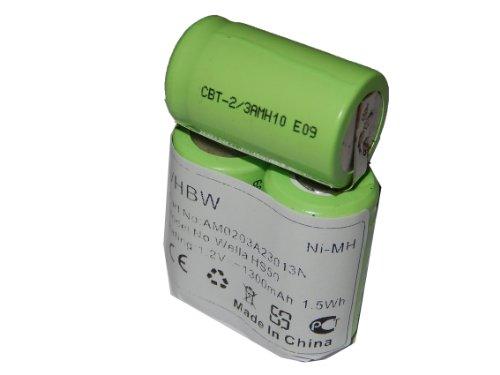 vhbw Ni-MH Akku 1300mAh (3.6V) für Haarschneider Wella Xpert HS50, Tondeo ECO XP wie N-500AC 2/3A.