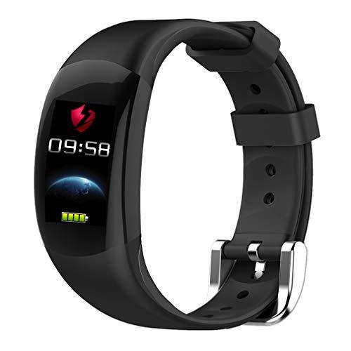 CCYOO Smart Armband Farbe LCD Fitness Armband Pulsmesser Fitness Armband IP68 Wasserdicht Schrittzähler Smart Band,Black