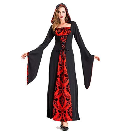 VVcostumes Frauen Größe Deluxe Kapuzen Robe, Halloween Hexe Kostüm Weibliche Erwachsene Ghost Vampire Black Red Devil Dress Up Kleid Rock Kostüm Kostüm (Size : - Weibliche Red Devil Kostüm