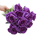 cherrboll artificiale rose fiori di seta floreale rose finti Bouqets composizioni for home party wedding Garden Decor, pezzi Purple