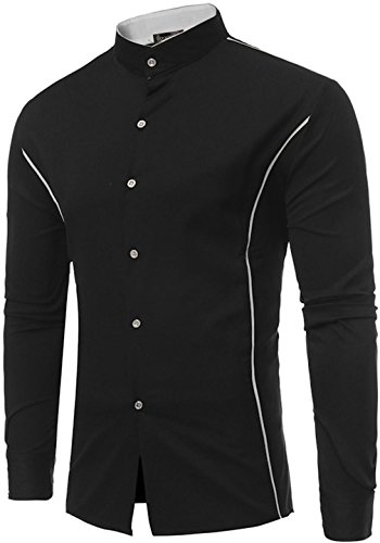 Sportides Herren Casual Long Sleeve Plaid Button Down Check Shirts Tops JZA102 JZA118_Black