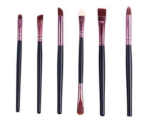 Kit de 6 Pcs Pinceaux de Maquillage Professionnel pour Visage Yeux et Lèvres (Poignée Noire)